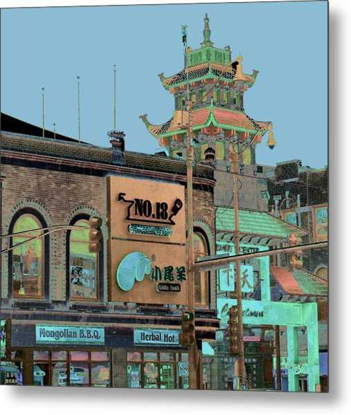 Metal Print featuring the photograph Pagoda Tower Chinatown Chicago by Marianne Dow