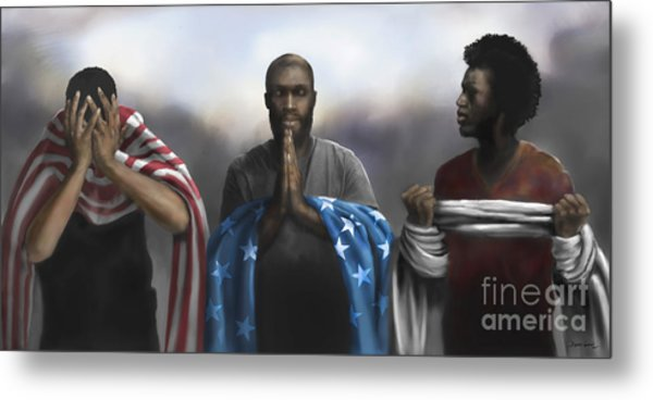 Metal Print featuring the digital art Pain, Prayer And Perseverance by Dwayne Glapion