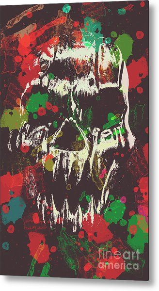 Paint Splash Skull Metal Print