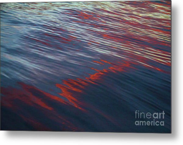 Painted By Nature - Water On The Flight Through The Fiery Skies Metal Print
