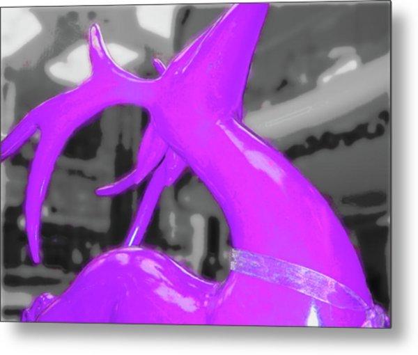 Painted Reindeer Purple Metal Print by JAMART Photography