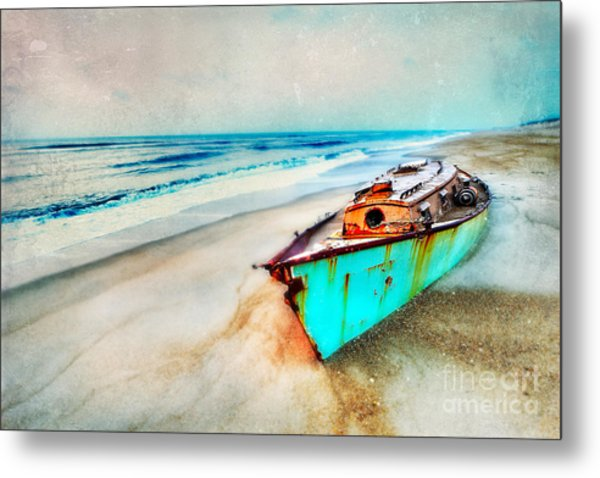 Painted Shipwreck On The Outer Banks II Metal Print