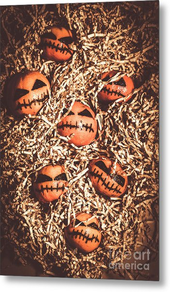 painted tangerines for Halloween Metal Print
