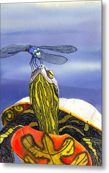 Painted Turtle And Dragonfly Metal Print by Catherine G McElroy
