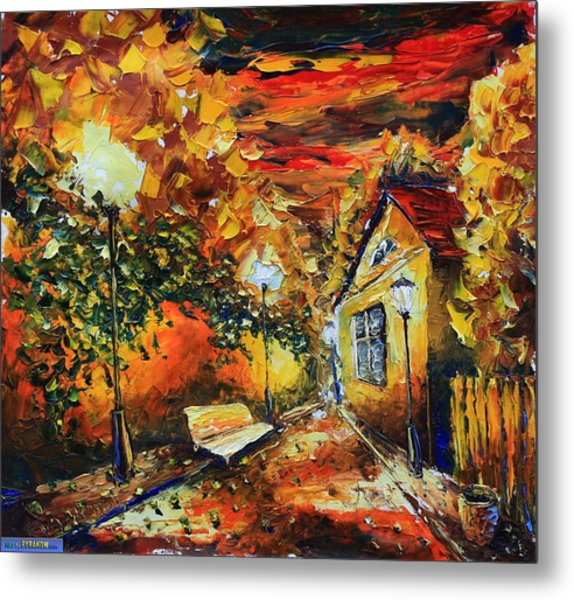painting Evening 180 Landscape oil painting Valery Rybakow Metal Print by Valery Rybakow