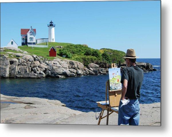 Painting Nubble Lighthouse Metal Print