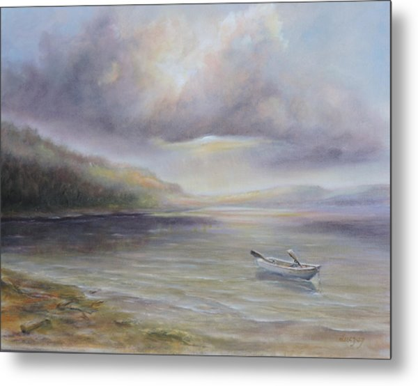 Beach By Sruce Run Lake In New Jersey At Sunrise With A Boat Metal Print