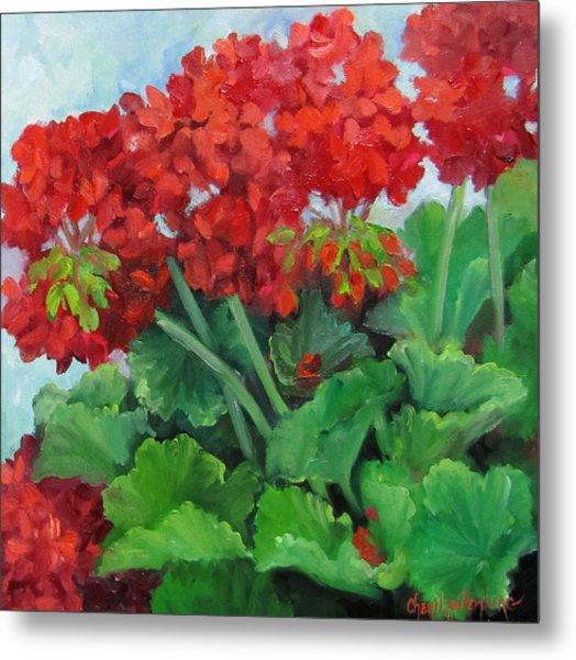 Painting Of Red Geraniums Metal Print