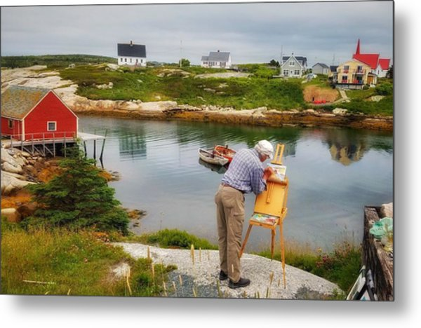 Painting Peggys Cove Metal Print