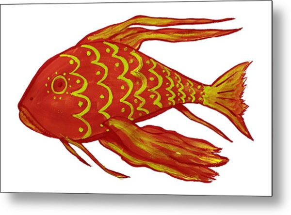 Painting Red Fish Metal Print