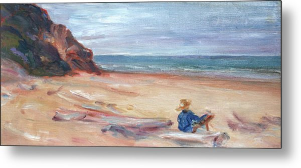 Painting The Coast - Scenic Landscape With Figure Metal Print