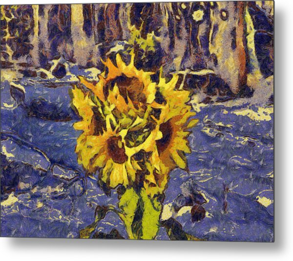 Painting With Five Sunflowers Metal Print