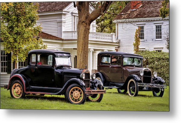 Metal Print featuring the photograph Pair Of Ford Model A  by Susan Rissi Tregoning