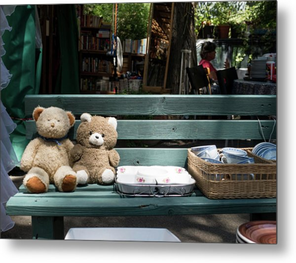 Teddy Bear Lovers On The Banch Metal Print