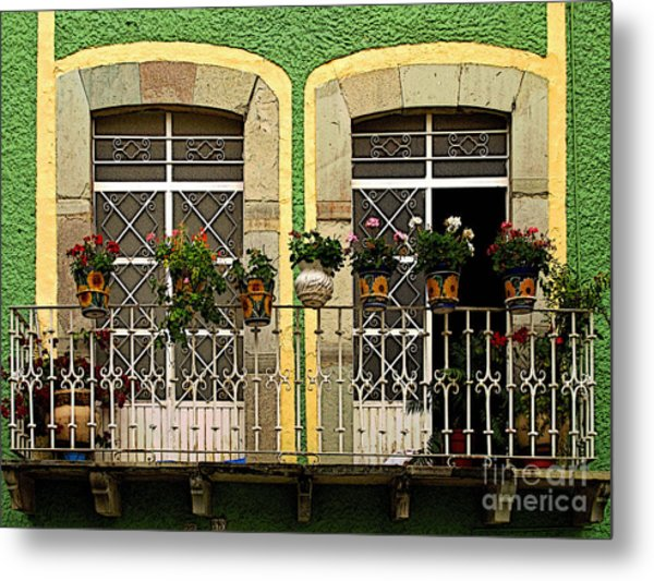 Pair Of Windows In Green Metal Print by Mexicolors Art Photography