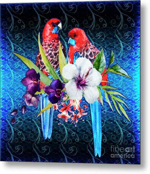 Paired Parrots Metal Print