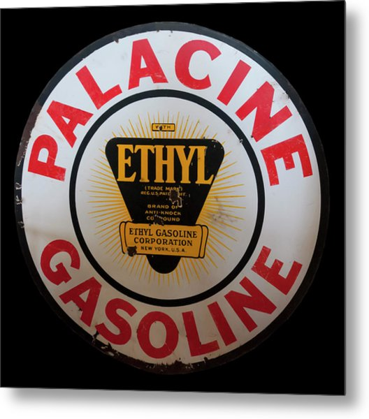 Metal Print featuring the photograph Palacine Gasoline Sign by Chris Flees
