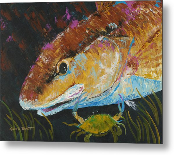 Pallet Knife Redfish And Blue Crab Metal Print