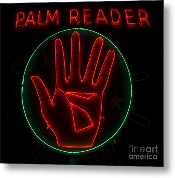 Palm Reader Neon Sign Metal Print