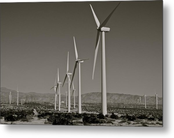 Palm Springs Windmills I In B And W Metal Print