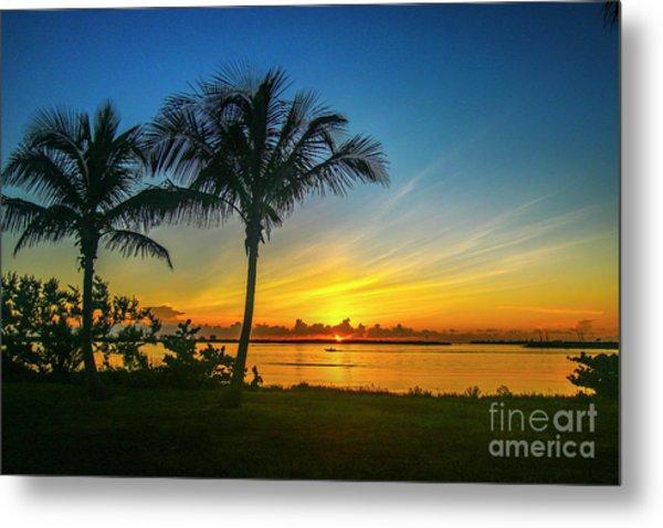 Palm Tree And Boat Sunrise Metal Print