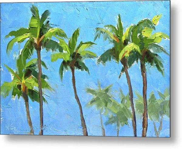 Palm Tree Plein Air Painting Metal Print