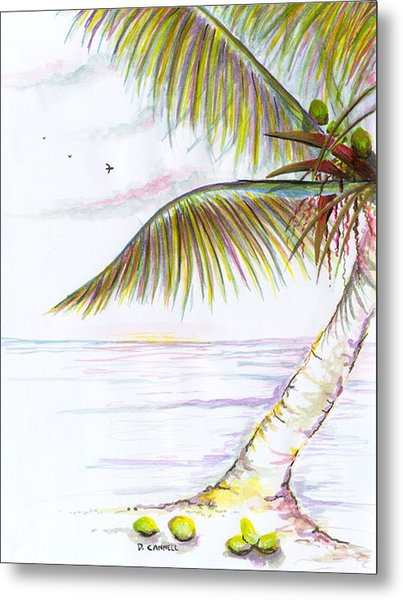 Metal Print featuring the digital art Palm Tree Study Three by Darren Cannell