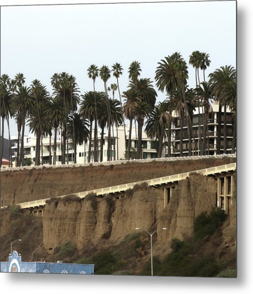 Palm Trees And Apartments Metal Print