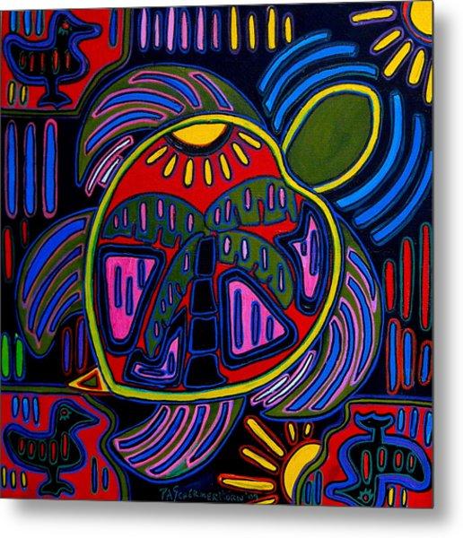 Palm Turtle Mola Metal Print by Patti Schermerhorn