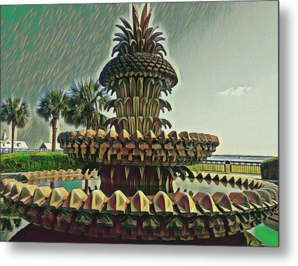 Palms And Pineapples Metal Print
