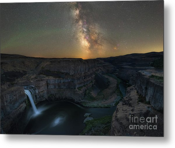 Palouse Falls Milky Way Galaxy  Metal Print