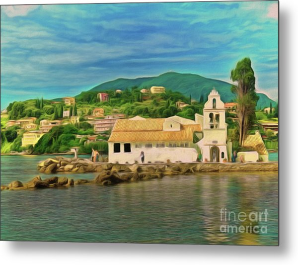 Metal Print featuring the photograph Panagia Vlacherna Church - Pontikonisi - Corfu by Leigh Kemp