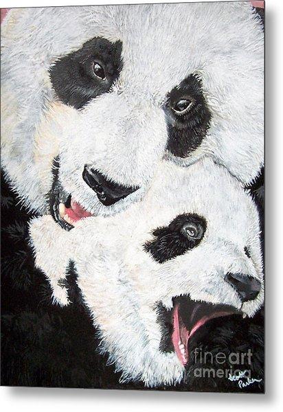 Panda And Baby Metal Print