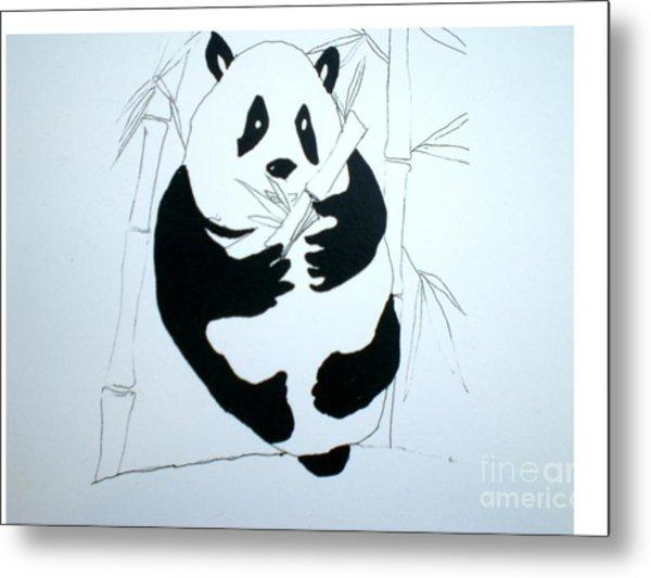 Panda Bear And Bamboo Metal Print by Hal Newhouser