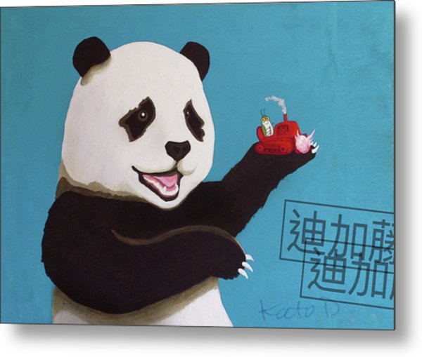 Panda Joy Blue Metal Print