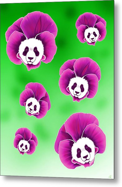Panda Pansies Metal Print