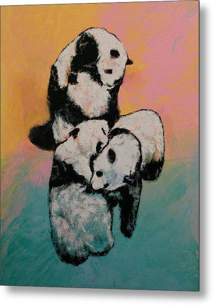 Panda Street Fight Metal Print