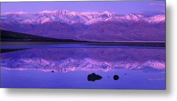 Metal Print featuring the photograph Panorama Badwater And The Panamint Range At Sunrise Death Valley by Dave Welling