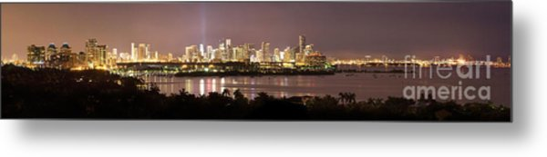 Panorama Of Miami At Night Metal Print by Matt Tilghman