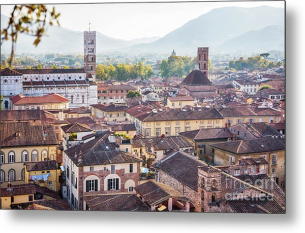 panorama of old town Lucca, Italy Metal Print