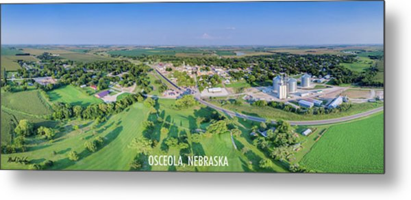 Panorama Of Osceola Nebraska Poster Version Metal Print