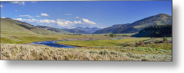 Panorama Of The Lamar Valley Metal Print