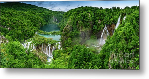 Panorama Of Turquoise Lakes And Waterfalls - A Dramatic View, Plitivice Lakes National Park Croatia Metal Print