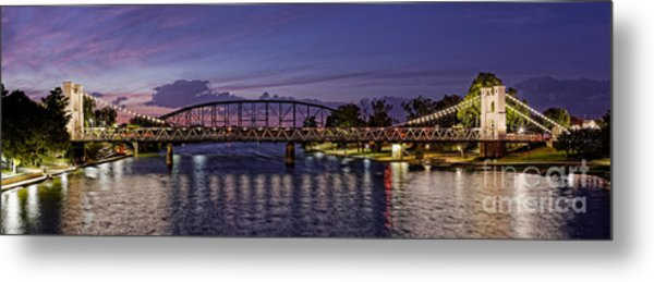 Panorama Of Waco Suspension Bridge Over The Brazos River At Twilight - Waco Central Texas Metal Print