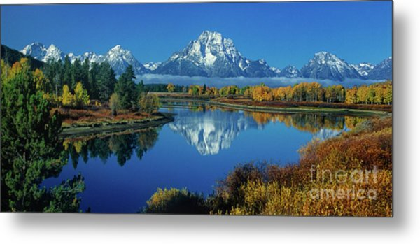Metal Print featuring the photograph Panorama Oxbow Bend Grand Tetons National Park Wyoming by Dave Welling