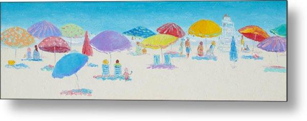 Panorama Painting Of Main Beach East Hampton Metal Print