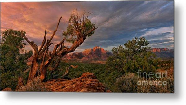 Panorama Storm Back Of Zion Near Hurricane Utah Metal Print
