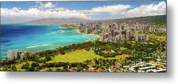 Panorama - Waikiki, Honolulu, Oahu, Hawaii Metal Print