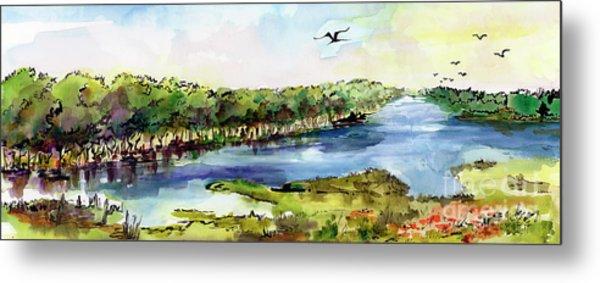 Panoramic River Landscape Metal Print