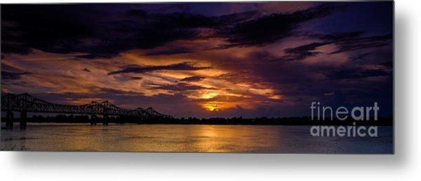 Panoramic Sunset At Natchez Metal Print